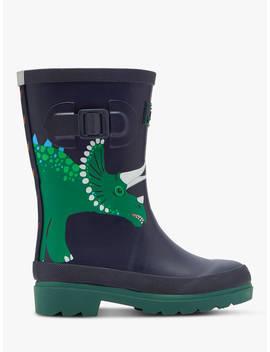 Little Joule Children's Dinosaur Wellington Boots, Navy by Joules
