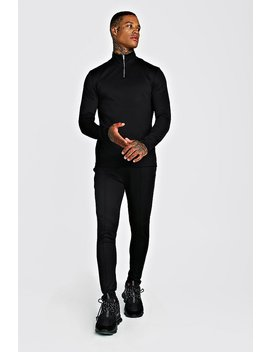 Man Signature Poly Tracksuit With Pintuck by Boohoo