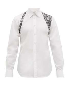 Harness Skull Lace Print Cotton Shirt by Alexander Mc Queen