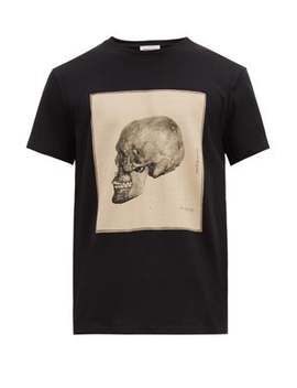 Anatomical Skull Print Cotton T Shirt by Alexander Mc Queen