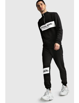 Official Man Half Zip Colour Block Tracksuit by Boohoo