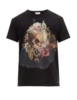 Still Life Print Cotton T Shirt by Alexander Mc Queen
