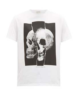 Split Skull Print Cotton T Shirt by Alexander Mc Queen