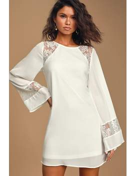 Better Than A Dream White Lace Long Sleeve Shift Dress by Lulus