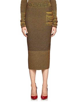 Compact Knit Cotton Blend Pencil Skirt by Victoria Beckham