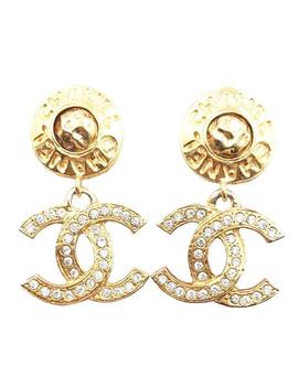 Gold Plated Word Round Cc Crystal Dangle Clip On Earrings by Chanel
