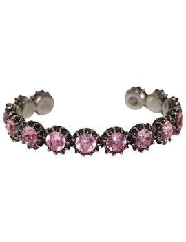 Pink New 472216 Feline Head Crystals Cuff Medium Bracelet by Gucci