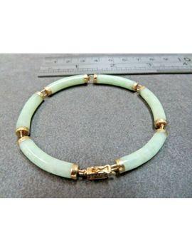 Vtg 14 K Jade Bracelet With 14k Clasp And Sefety Lock Round Link by Ebay Seller