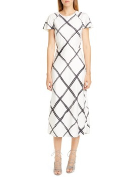 Windowpane Print Silk Crêpe De Chine Midi Dress by Jason Wu Collection