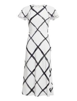 Windowpane Silk Crepe Dress by Jason Wu Collection