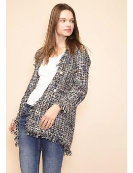 Pleione Women's Tweed Fringe Hem Blazer by Asoph