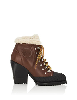 Rylee Leather &Amp; Shearling Ankle Boots by Chloé