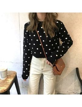 Shalala   Polka Dot Crewneck Long Sleeve Knit Top by Shalala