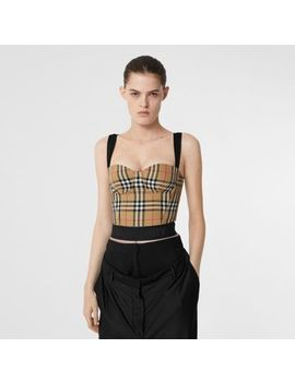 Vintage Check Stretch Jersey Corset Top by Burberry