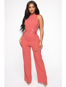 Simple Favor Belted Jumpsuit   Marsala by Fashion Nova