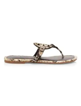 Miller Metal Snakeskin Embossed Leather Thong Sandals by Tory Burch