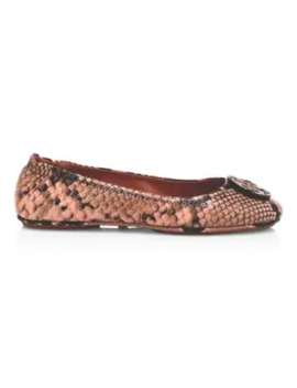 Minnie Snakeskin Embossed Leather Ballerina Flats by Tory Burch