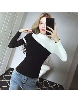 Fance   Two Tone Long Sleeve Knit Top by Fance