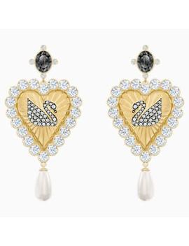 Vintage Swan Drop Pierced Earrings, Multi Coloured, Gold Tone Plated by Swarovski