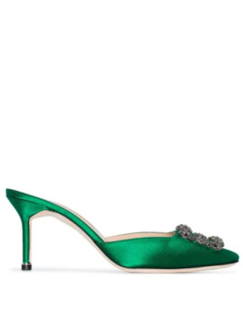 Green Hangisi 70 Satin Buckle Detail Mules by Manolo Blahnik