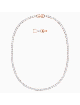 Tennis Deluxe Necklace, White, Rose Gold Tone Plated by Swarovski