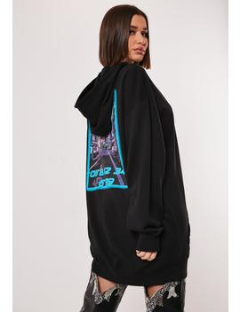 Tall Black Tokyo Graphic Back Oversized Hoodie Dress by Missguided