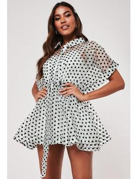 White Polka Dot Organza Shirt Dress by Missguided