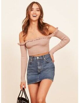 Reformation Anna Blush Top Bardot S Nwt Originally $78 by Ebay Seller