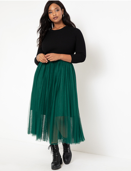 Pleated Tulle Maxi Skirt by Eloquii