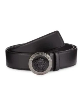 Medusa Embossed Leather Belt by Versace