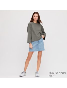 Women Cotton Oversized Fit Wide Sleeved T Shirt by Uniqlo