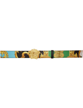 Reversible Multicolor Man Of Baroque Belt by Versace