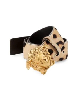 Medusa Buckle Leopard Print Belt by Versace