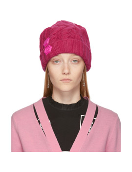 Pink Knit Pop Color Beanie by Off White