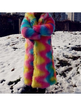 Autumn Winter Hooded Long Rainbow Furry Faux Fur Coat Overcoat For Women Fashion Disco Hoodies Coats Outerwear Eco Friendly Furs by Ali Express.Com
