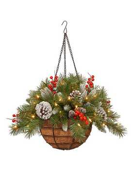 Pre Lit Frosted Berry Hanging Basket by Kirkland's