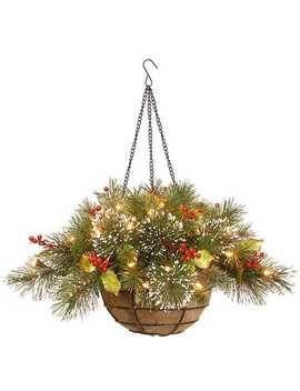 Pre Lit Wintry Pine Hanging Basket by Kirkland's