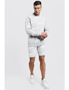 All Over Man Print Sweater Short Tracksuit by Boohoo