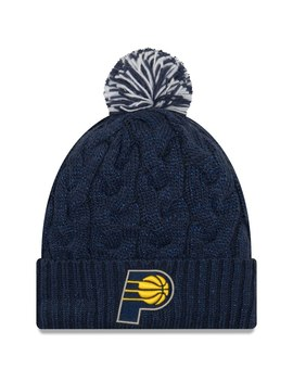 Women's Indiana Pacers New Era Navy Cozy Cable Cuffed Knit Hat With Pom by Nba Store