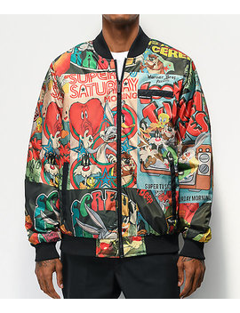 Members Only X Looney Tunes Black Bomber Jacket by Members Only