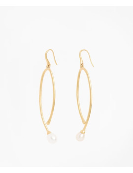 Freshwater Pearl Gold Plated  Long Drop Earrings by Brooks Brothers