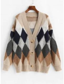 Hot Button Up Geometric Intarsia Knit Cardigan   Multi A by Zaful
