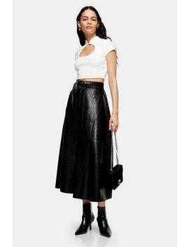 Black Crocodile Pu Full Circle Midi Skirt by Topshop