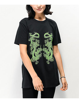 New Girl Order Double Dragon Black T Shirt by New Girl Order