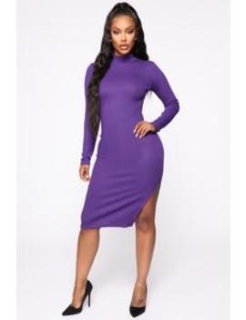 Minor Details Mock Neck Midi Dress   Violet by Fashion Nova