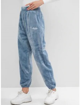 Popular Fluffy High Waisted Letter Embroidered Jogger Pants   Blue by Zaful