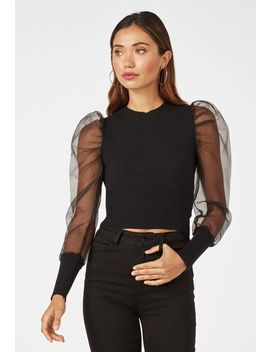 Organza Sleeve Top Vip Membership Program by Justfab