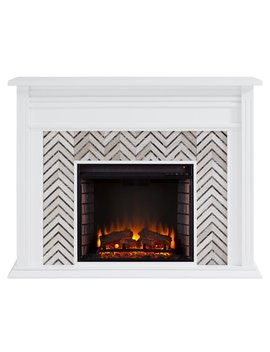 Hebbington Tiled Marble Electric Fireplace by Latitude Run