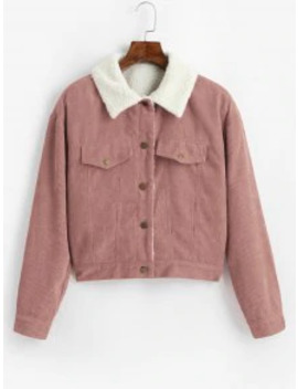 Hot Zaful Fuzzy Corduroy Jacket   Pink Rose M by Zaful