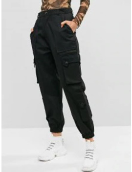 Hot Pockets Solid Color Cargo Jogger Pants   Black L by Zaful